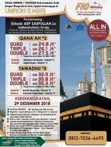 Umroh 29 Desember 2018 Fio Holiday